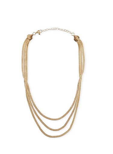 Tiered Metallic Brazillian Chain Necklace,GOLD,large