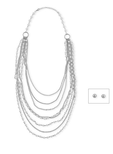 Long Multi Layered Faux Pearl and Chain Necklace,SILVER,large