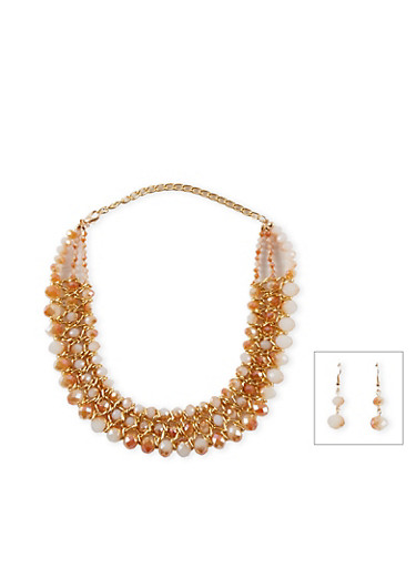 Woven Glass Bead Collar Necklace and Earring Set,TAN,large
