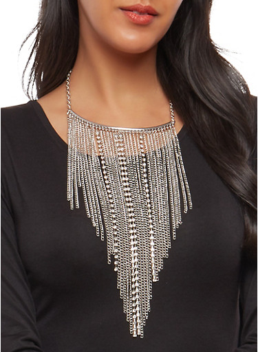 Long Chain and Rhinestone Fringe Necklace with Earrings,SILVER,large