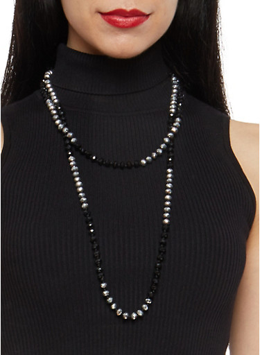 Two Tone Long Beaded Necklace,BLACK,large