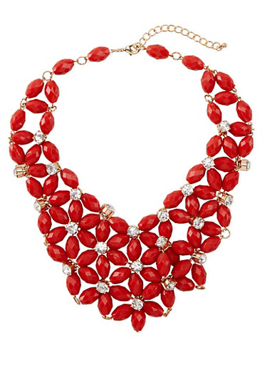 Beaded Bib Necklace with Rhinestone Accents,RED,large