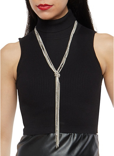 Knotted Rhinestone Chain Fringe Necklace,SILVER,large