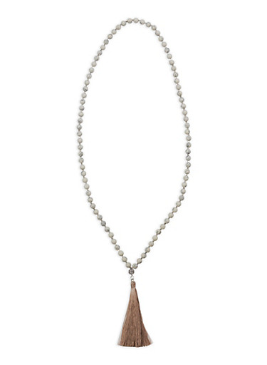 Long Beaded Necklace with Tassel,WHITE,large