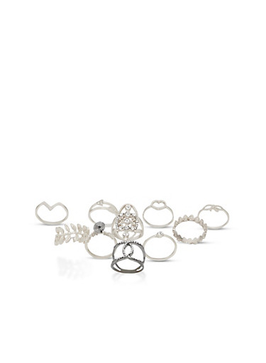 Set of 10 Assorted Rhinestone Rings,SILVER,large
