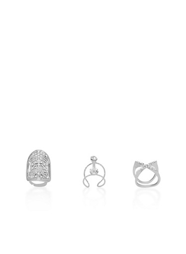 Trio of Rhinestone Encrusted Rings,SILVER,large