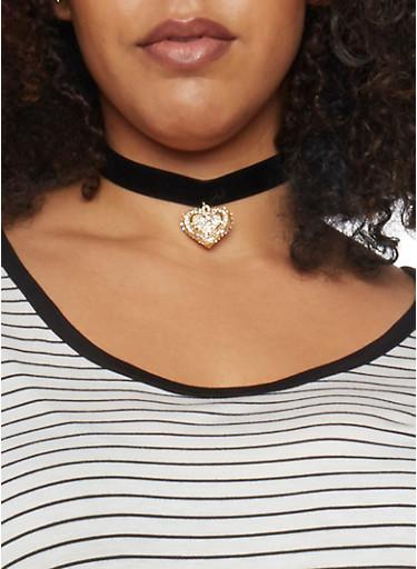 Velvet Rhinestone Heart Choker,BLACK,large