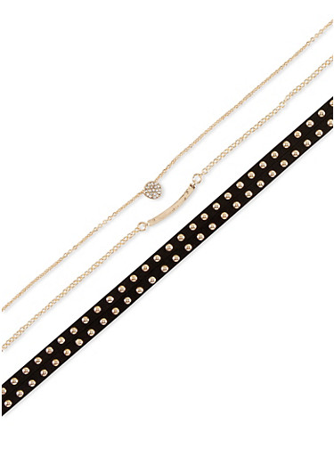 Trio of Faux Suede Studded and Chain Chokers,BLACK,large