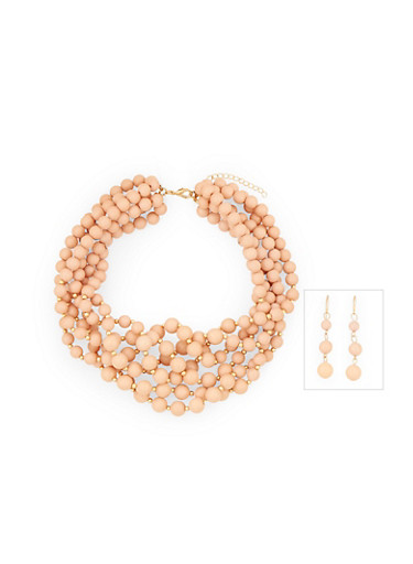 Multi Layered Beaded Necklace with Drop Earring Set,BLUSH,large
