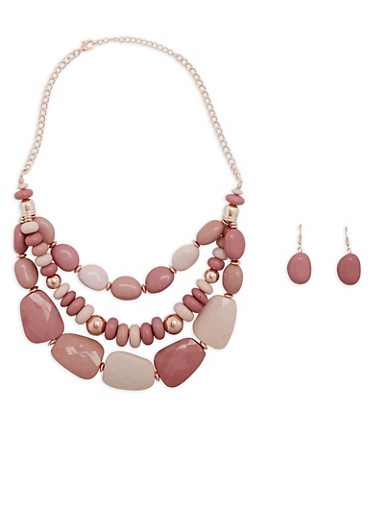 Layered Large Bead Necklace with Drop Earrings,BLUSH,large