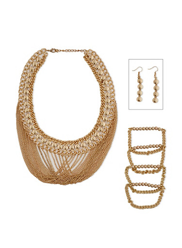 3 Layer Collar Fringe Necklace with Beaded Bracelets and Earrings,GOLD,large