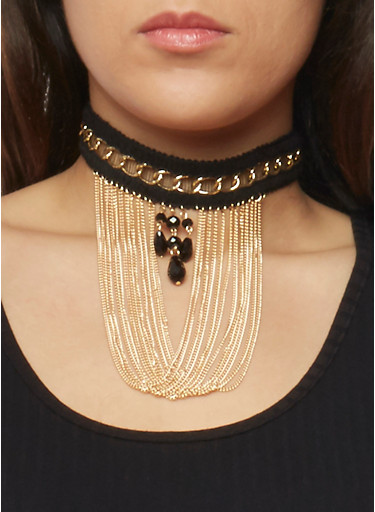 Multi Chain Woven Choker,GOLD,large