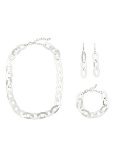Flat Metallic Chain Link Necklace with Bracelet and Earrings,SILVER,large