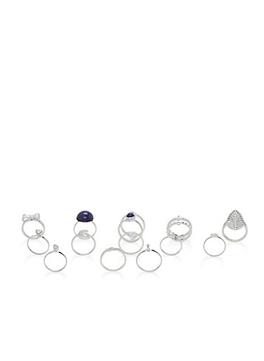 Assorted Metallic Rings Set,SILVER,large