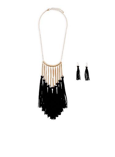 Tassel Bib Necklace with Earrings,BLACK,large