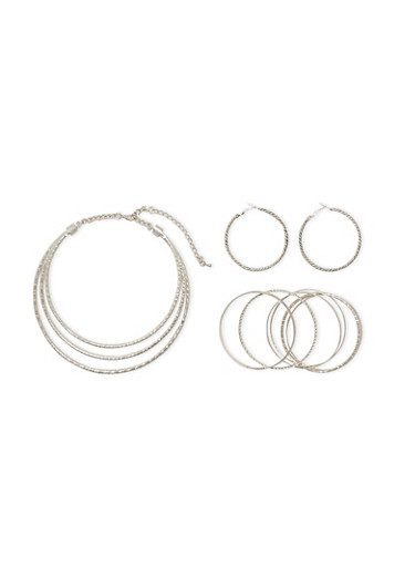 Coil Necklace with Twisted Hoop Earrings and Multi Textured Bangles Set,SILVER,large
