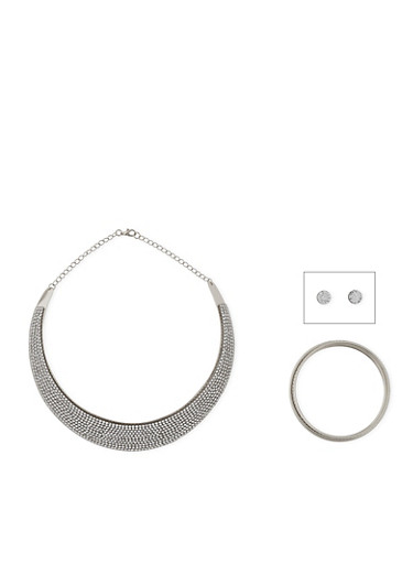 Rhinestone Collar Necklace with Bangle and Earrings,SILVER,large