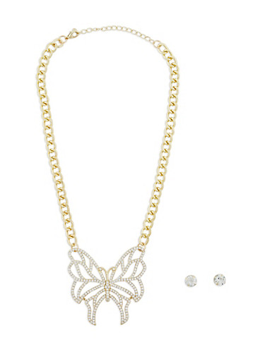 Rhinestone Butterfly Necklace with Stud Earrings,GOLD,large