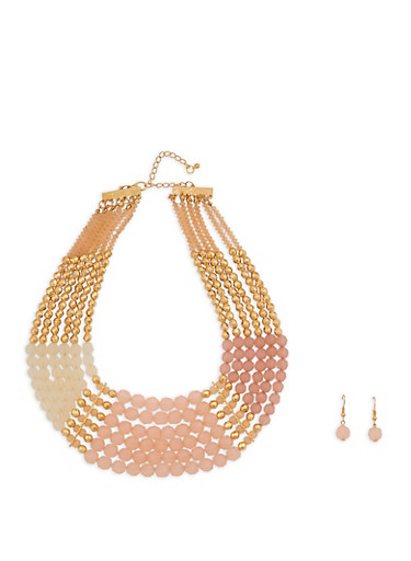 Multi Row Beaded Necklace with Matching Earrings,GOLD,large
