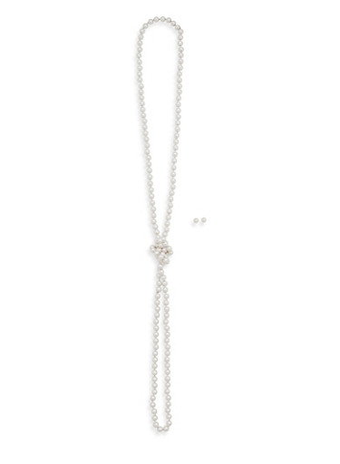 Long Knotted Faux Pearl Necklace with Stud Earrings,IVORY,large