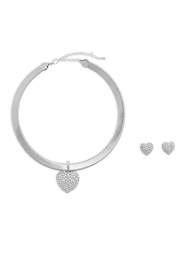 Flat Chain Necklace with Heart Earrings,SILVER,large
