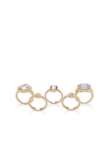 Set of 5 Jeweled Rings,GOLD,large