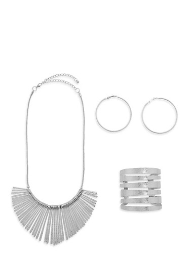 Metallic Stick Necklace with Cuff and Hoop Earrings,SILVER,large