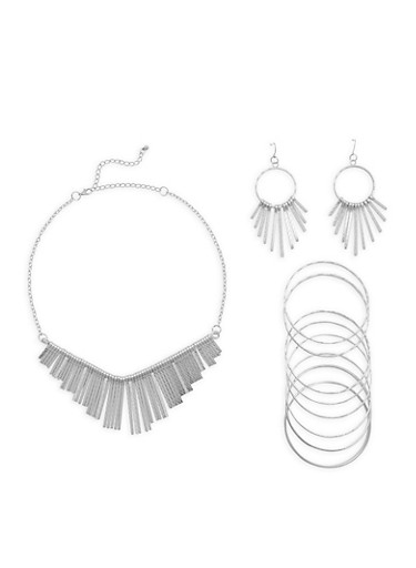 Stick Necklace Earrings and Bracelet Set,SILVER,large