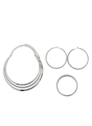 Metallic Rhinestone Collar Necklace with Bracelets and Hoop Earrings,SILVER,large