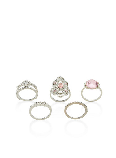 Set of 3 Jeweled Rings,SILVER,large