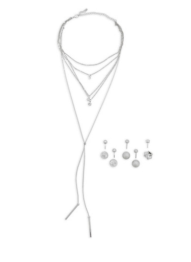 Layered Necklace with Reversible Stud Earrings,SILVER,large