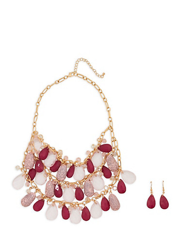 Large Layered Beaded Necklace with Earrings,MAUVE,large