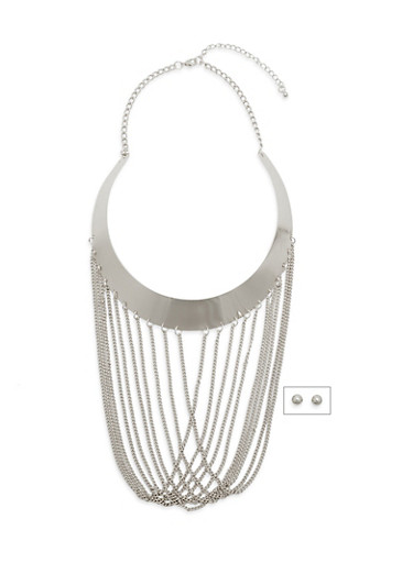 Fringe Bib Necklace with Lobster Claw Closure,SILVER,large