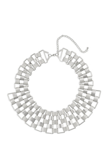 Multi Row Metallic Collar Necklace,SILVER,large