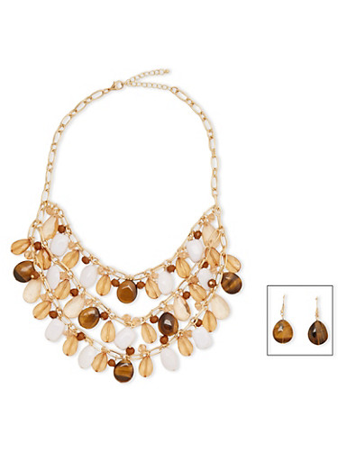 Multi Layered Large Crystal and Rhinestone Necklace with Drop Earrings,BROWN,large