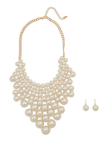 Faux Pearl Bib Necklace with Matching Earrings,IVORY,large