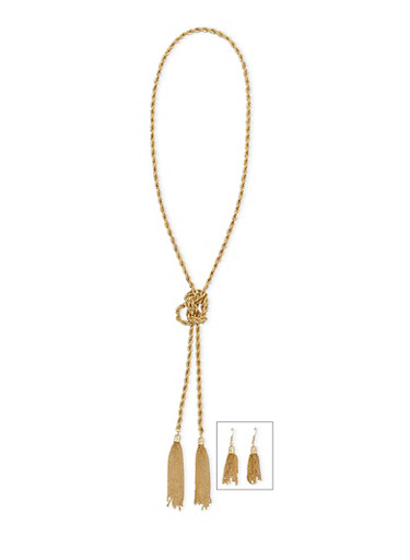 Tassel Metal Rope Chain Necklace and Earrings Set,GOLD,large