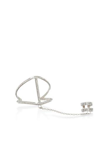 Rhinestone Ring Hand Chain Cuff Bracelet,SILVER,large