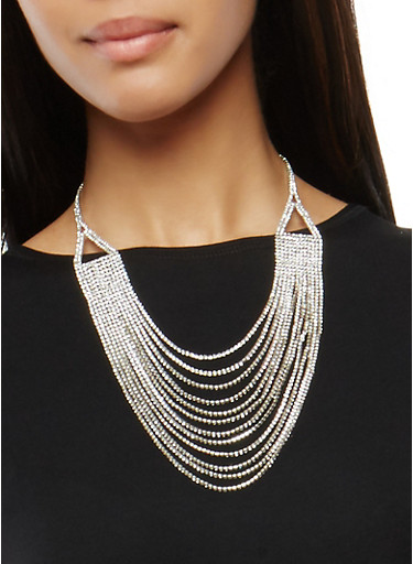 Layered Rhinestone Necklace,SILVER,large