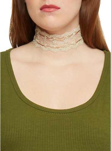 Lace Choker Necklace with Ties,IVORY,large