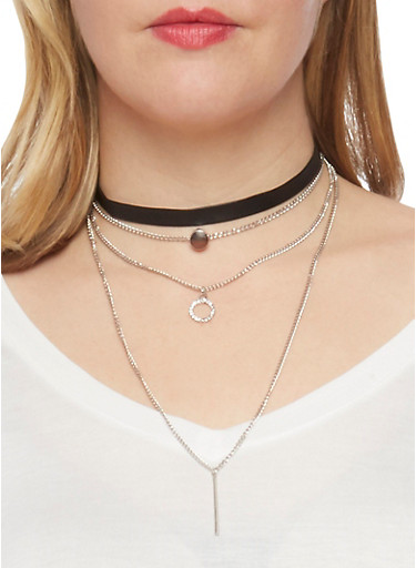 Tiered Drop Choker with Metallic Charms,SILVER,large