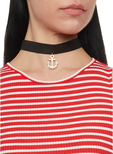 Faux Leather Anchor Choker Necklace,GOLD,large
