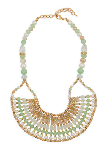 Multi Beaded Collar Necklace,MINT,large