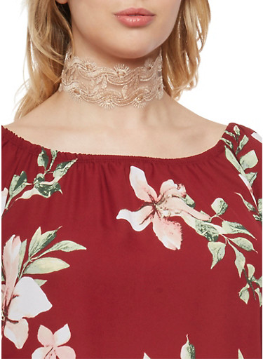 Wide Lace Choker Necklace,TAN,large