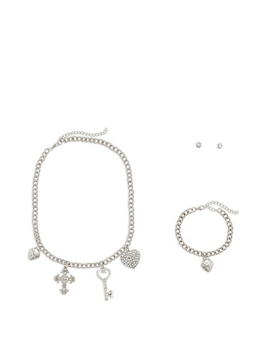 Charm Necklace with Matching Bracelet and Stud Earrings,SILVER,large