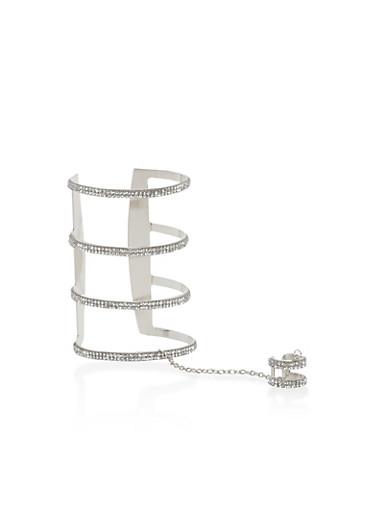 Rhinestone Ring Hand Chain Open Cuff Bracelet,SILVER,large