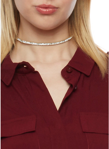 Trio Choker Set with Lace and Rhinestones,BLUSH,large