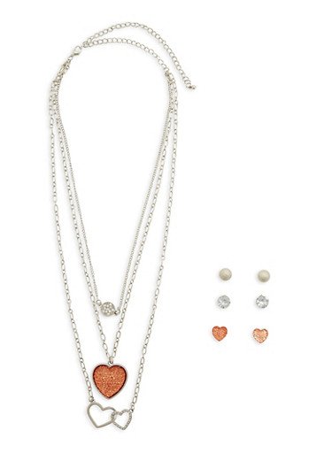 Layered Heart Necklace with Stud Earrings,SILVER,large