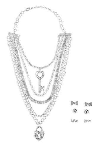 Layered Charm Necklace with Set of Stud Earrings,SILVER,large