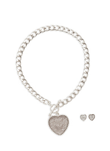 Large Heart Toggle Necklace and Earrings Set,SILVER,large